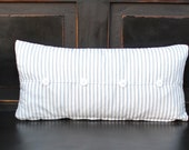 Ticking Stripe Pillow With Button