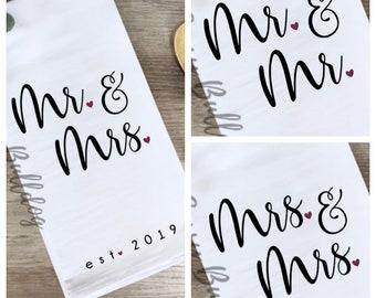 Wedding Gift Tea Towel Engagement Gift Mr /& Mrs