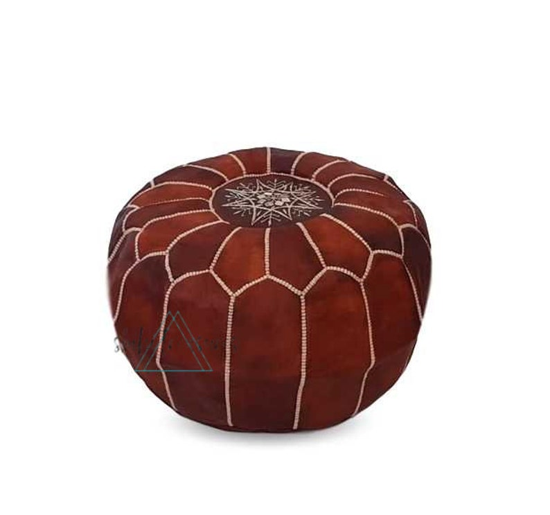 Moroccan Leather Pouf Pouffe Hand-stitched Pouf Foot Stool Ottoman,Foot-rest Brown Moroccan Pouf
