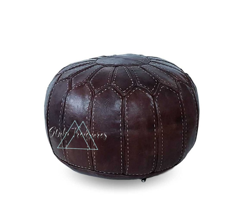 Moroccan Leather Pouf Ottoman,Foot-rest Hand-stitched Pouf Foot Stool Pouffe Brown Moroccan Pouf