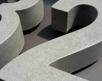 HOUSE NUMBER in BETON 24 cm ARIAL many colors Street House Number concrete design