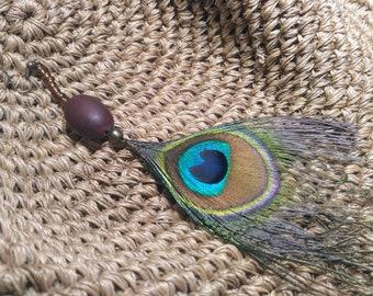 Pendiente solitario pavo real  plumas federn feather c29d8f8e553