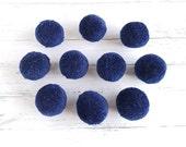 10 wool bobbles, dark blue, 2.5 cm, pompom, blue, night blue, navy blue, real wool bobbles, pompoms for bags, blankets, knitting
