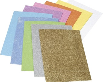 10 glitter foam rubber plates, 10 different colors, glitter, A4 large plates, glitter moss rubber, cut out or punching