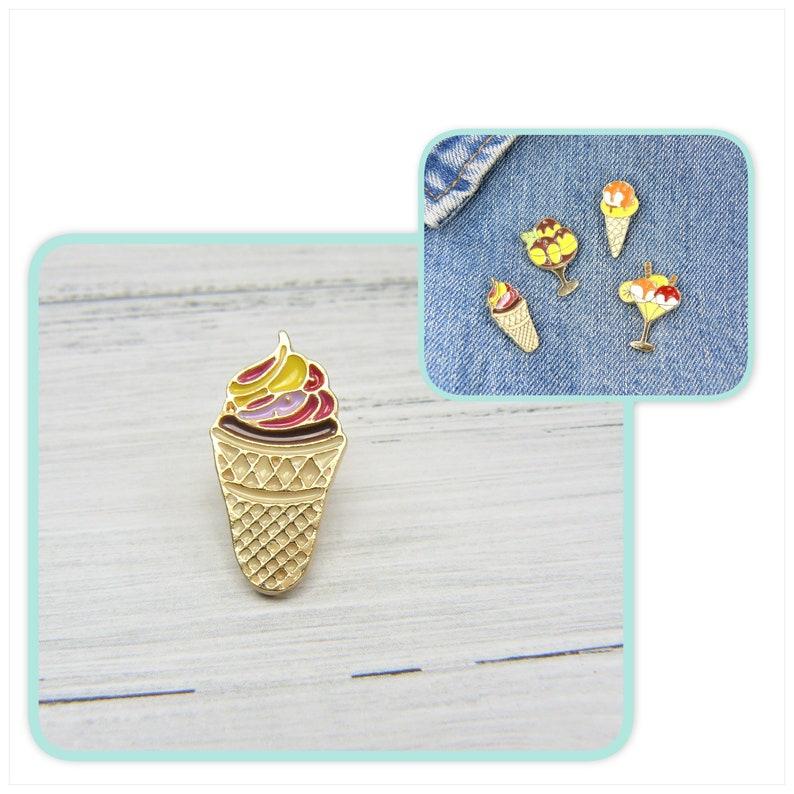 ice cream waffle waffle ice cream cup ice cream pin lapel pin brooch