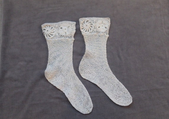 White Crochet Socks with Irish Crochet Tops