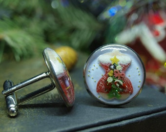 women/'s suits accessories xmas winter jewelry Rudolph reindeer Christmas cufflinks cuff links for boss male stocking stuffer gift