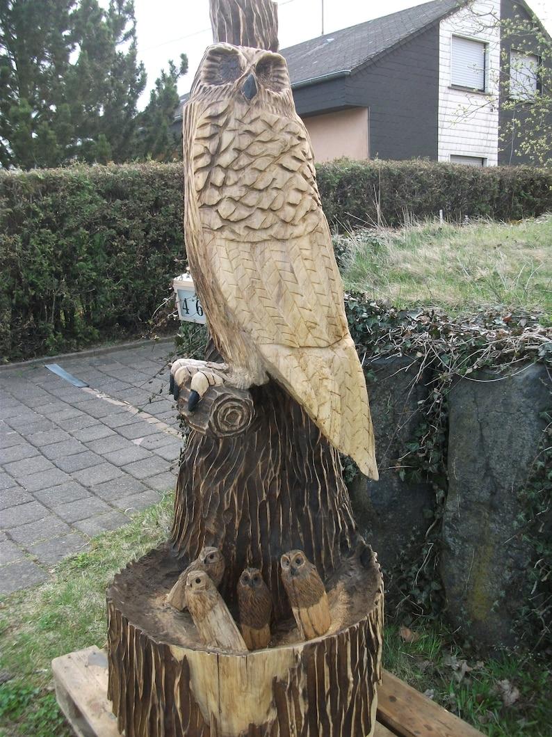 Owl family wood sculpture kettensägenschnitzen etsy