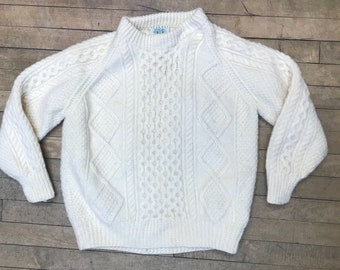 df76e288c50 Irish wool fisherman cable knit hand knit crewneck sweater size womens  medium mens small