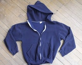 Vintage 1980s Russell Athletics navy blue zip up jacket hoodie size small