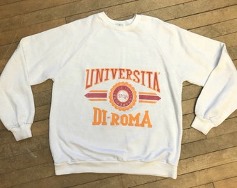 91ce1882 1970s Vintage University of rome italy pullover crewneck sweater size medium
