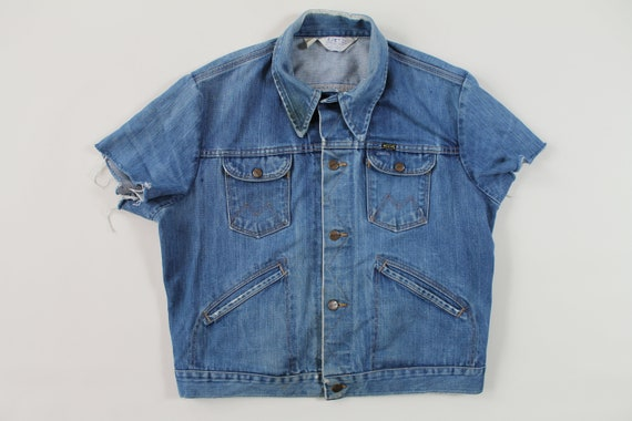 vintage 1970s Maverick denim vest jacket sanforize