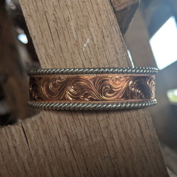 Copper coated etched steel bracelet,58thwide,1pc-BRC14