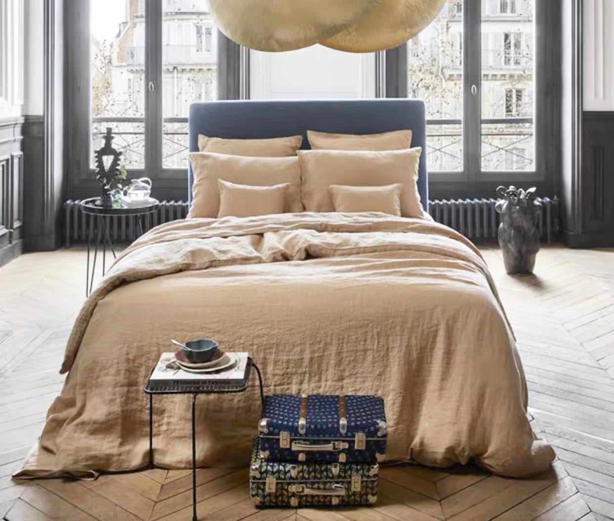 Couverture de couette en lin, couverture 100% naturelle de couette en lin lavée en pierre en couleur beige, taille personnalisée, Made To Order.