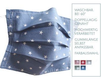 """Mouth cover/face mask, """"stars"""", flexible rubber length, in 5 colors! Washable at 60 degrees!"""