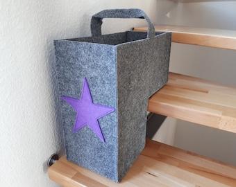 "Stair basket felt ""Stars"""