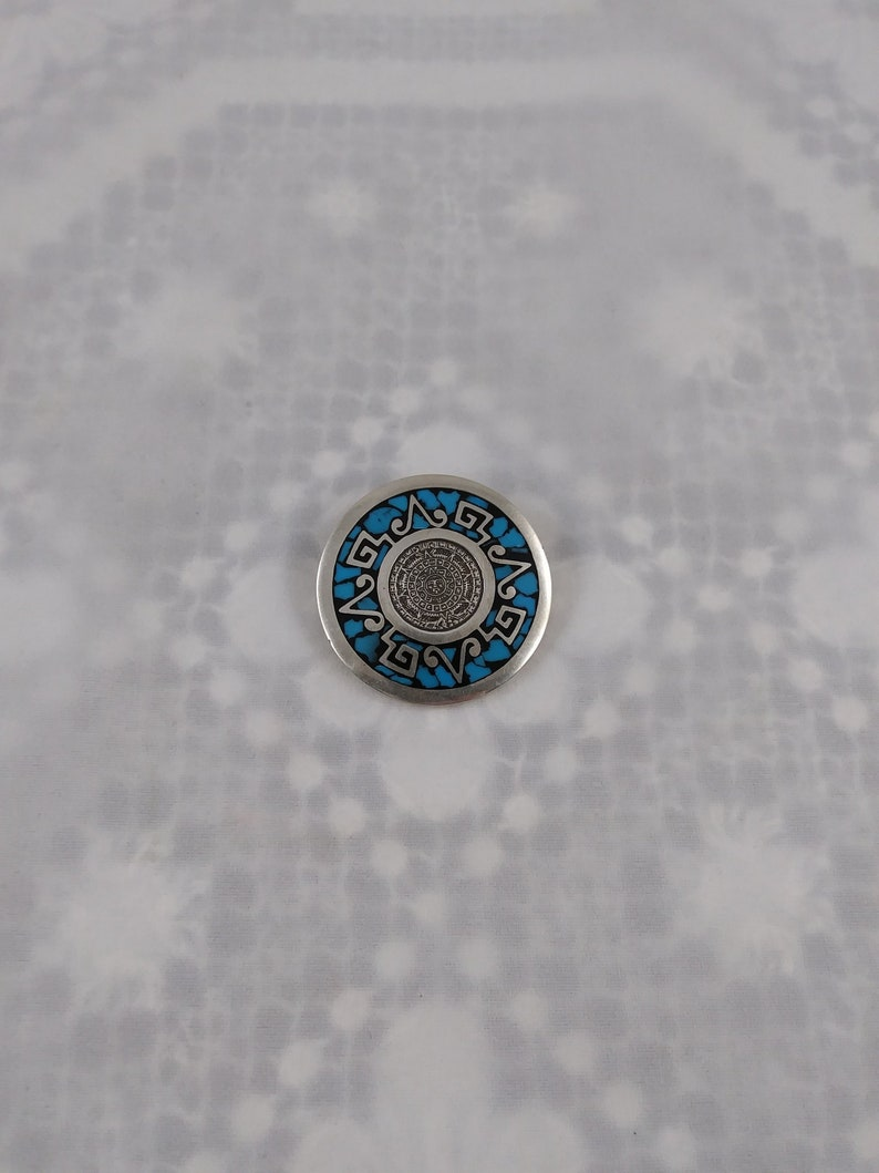 Sterling Silver /& Turquoise Mexican Pin