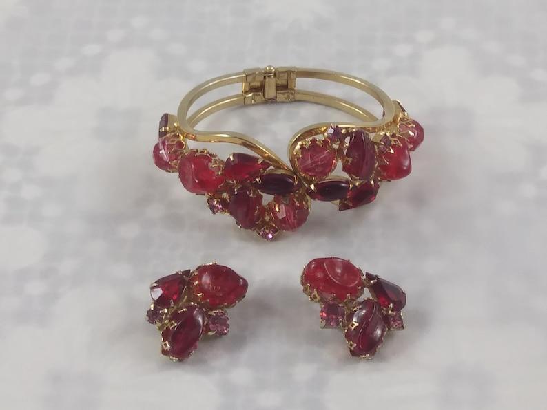 Red Rhineestone Bracelet and Earrings