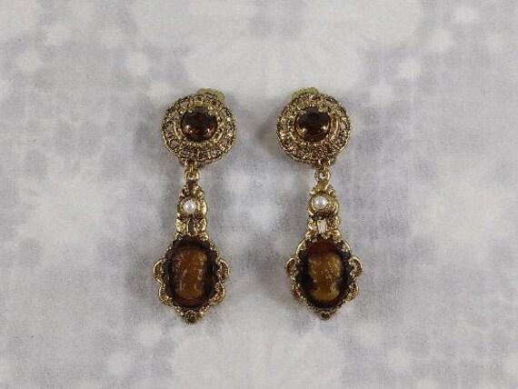 Cameo Dangle Clip Earrings
