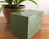 Vintage Green Recipe Box, Vintage Recipe Tin, Green Recipe Tin, Syndicate MFG PA green vintage recipe box