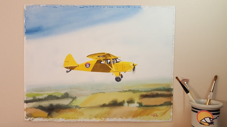 Original Watercolor Piper Pa-20 Pacer Aircraft Airplane Civil Air Patrol  Landscape Skyscape painting