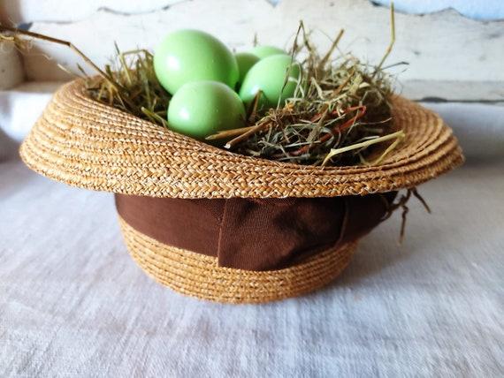 Easter in vintage straw hat sun hat summer hat - image 2