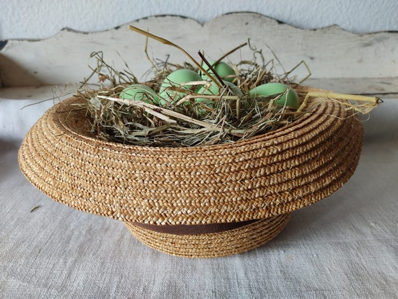 Easter in vintage straw hat sun hat summer hat - image 3