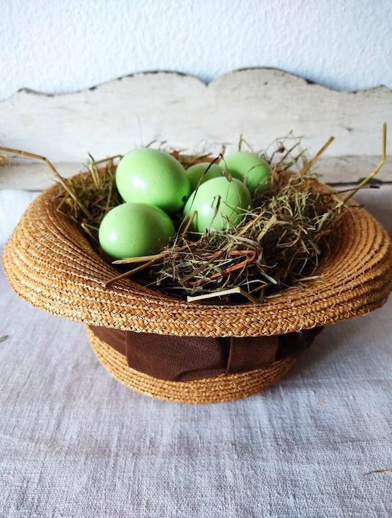 Easter in vintage straw hat sun hat summer hat - image 10