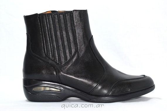 Botas Botinetas Cuero Negro Urbanas Quica Arroyos Urban Black Leather Botinetas Boots