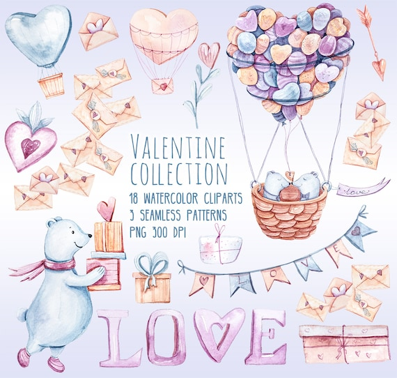 Valentines Clipart Love Clipart Romantic Wedding Planner Stickers 18 Watercolor Cliparts 3 Seamless Patterns Png 300 Dpi