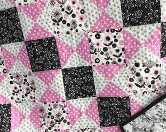 Pink Camo Quilt Lap Quilt Throw Quilt Handmade Quilt Pink and Black Quilt Twin Quilt Traditional Quilt Pattern
