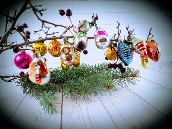 Russian Christmas.Set 17 Miniature Glass Vintage Russian Christmas Mini Ornament Xmas Decor New Year Toy Tree Decor Soviet Union Ussr