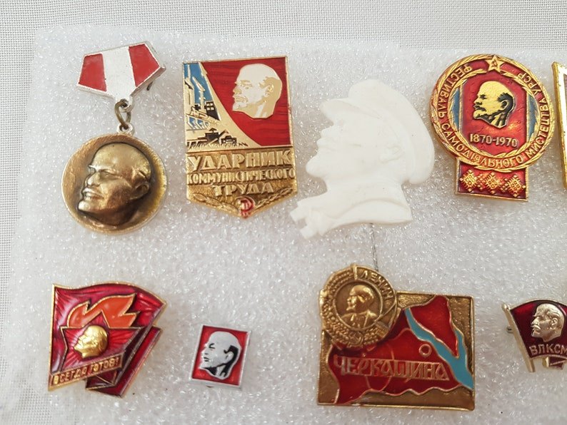 Vintage Suit Making Supplies Sale Lenin pins 10 Soviet propaganda pins Vintage Communist Russian Collectibles USSR memorabilia USSR