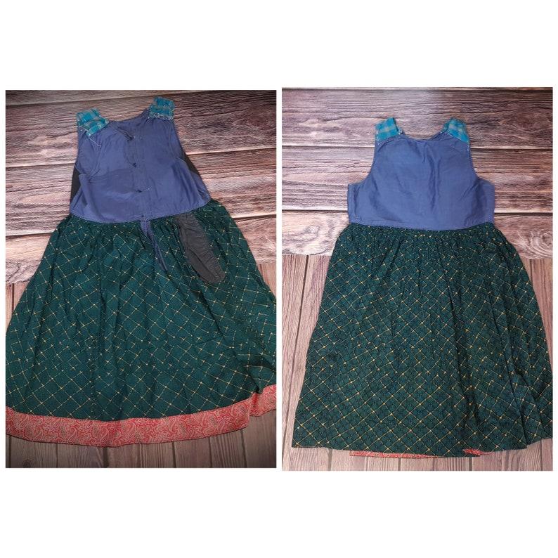 Vintage long dress  Antique Ukrainian sarafan  Ancient dress  Casual long green sundress  Sleeveless dress