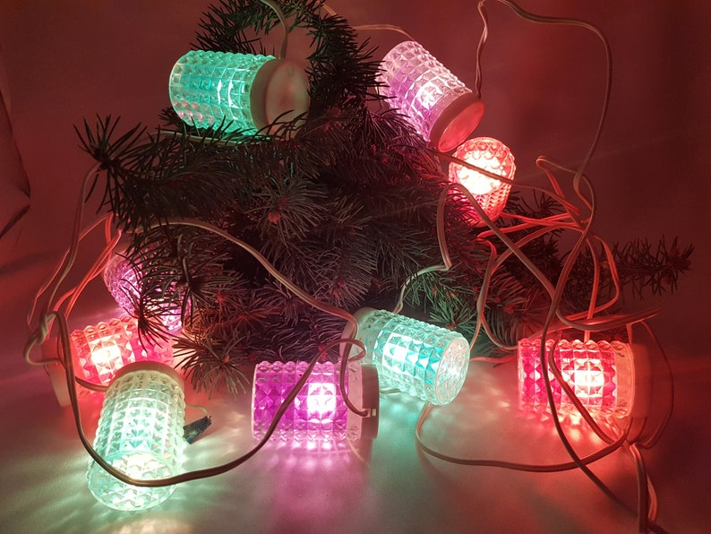 Vintage Soviet Ussr Christmas Tree Lights Decor Colourful Etsy