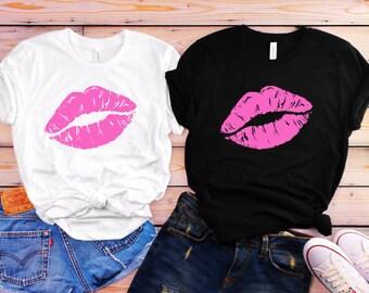 d9aeb8a7a Women Casual Oversized Sexy Pink Lips ® ( T Shirt, Women T-Shirt, Tank Tops,  Sweatshirt, Sweater, Hoodie, Kids Tee, Mugs ) 80's Party Tshirt