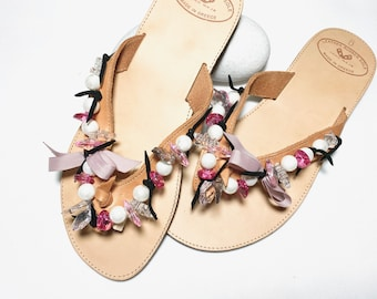 Unique leather sandals size 39, toe separator, handmade