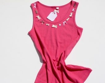 Tank Top UNIKAT 40/42 Shirt in PINK, fine rib, 95% cotton with stretch, summer shirt
