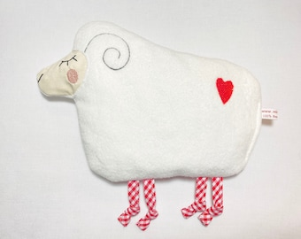 """Baby heat pillow """"sheep"""" 16 x 19 cm, fleece fabric 100% cotton, with desired filling"""
