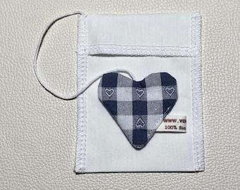 Tea bag organic cotton 8 x 10 cm, Valentine's Day, reusable, washable -- zero waste -- heart of cotton Eco-Tex Standard 100