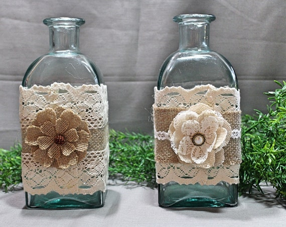 Decorated Blue Glass Bottles