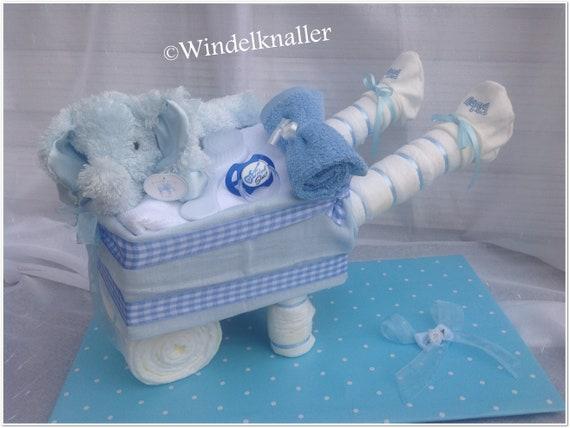 B/är Windeltorte Windeltorte mit Windelkinderwagen XL in 4 verschiedenen Farben blau