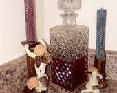 Vintage Bohemian Crystal Rectangular Liquor and Wine Decanter with Diamond Cut Edging Design Whisky Decanter Vintage Czech Bohemian Glass