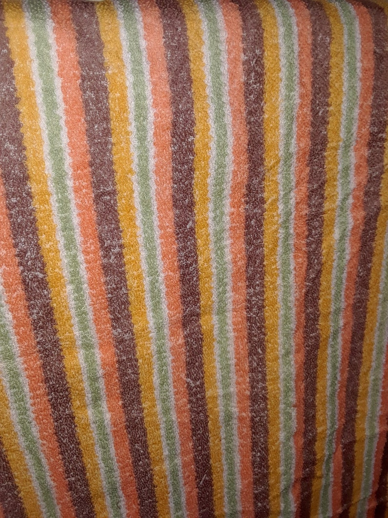3.27 yards Vintage 90s Terry Cloth Fabric Striped Orange Green Brown Bath Towel Hand towel Beach Wide Long Striped Cotton Fabric Boho Style