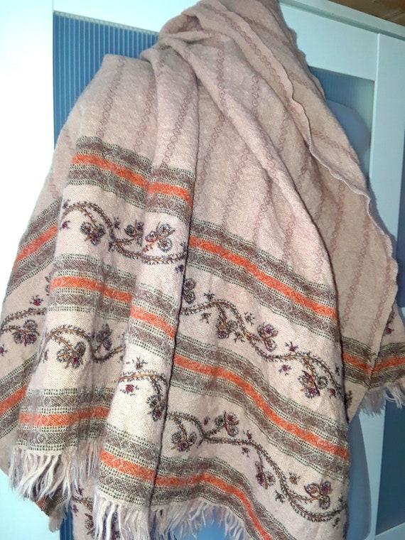 WOOL SHAWL Beige with Brown Orange Embroidery Blan