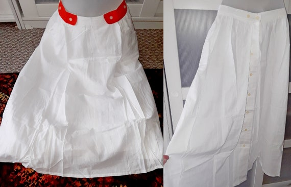 Rare Vintage Buttoned Up White Cotton Skirt with f
