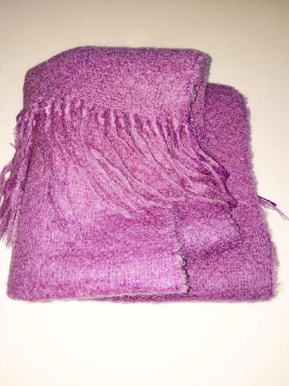 MOHAIR SCARF Blanket Scarf Pink Purple Lilac Wool