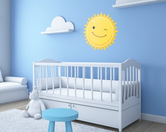 Sun   Space Wall Decal   Fabric Wall Decal   Space Bedroom   Sun and Moon Decal   Star Wall Decals