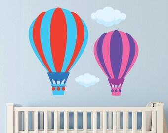 Hot Air Balloons   Balloon Wall Decal   Fabric Wall Decal   Nursery   Balloon and Cloud   Decor Decals