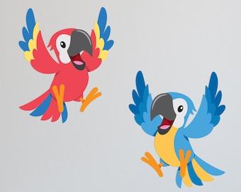 Tropical Macaws   Jungle Wall Decal   Fabric Wall Decal   Jungle Bedroom   Animal Wall Decal   Safari